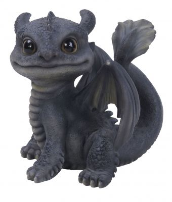 Baby Mythical Grey Fan Tail Dragon - Ornament Gift - Indoor or Outdoor - Pet Pals