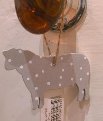 Grey Wooden Sheep Hanging Christmas Tree Decoration