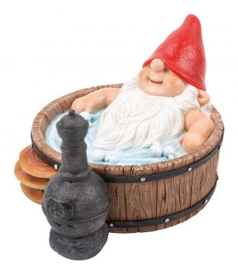 Gnaughty Gnome Naughty Sat in Hot Tub Ornament Gift - Indoor or Outdoor - Funny