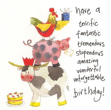 Birthday Card - Farm Animals Cow Pig Chicken - Sparkle - Alex Clark