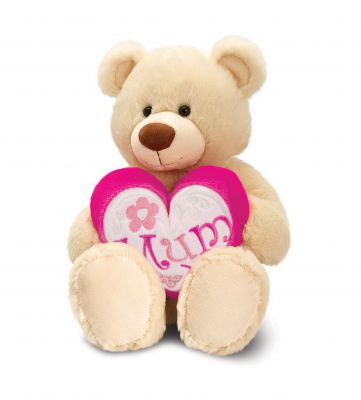 Bear Soft Toy - Mum Pink Heart - Keel Mother's Day