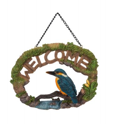 Kingfisher Bird Welcome Sign - Hanging - Garden Friends