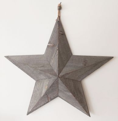 Extra Large Grey Washed Wooden Barn Star - 59cm