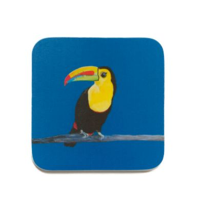 Toucan Bird Taj Design Blue Coaster - Emily Smith