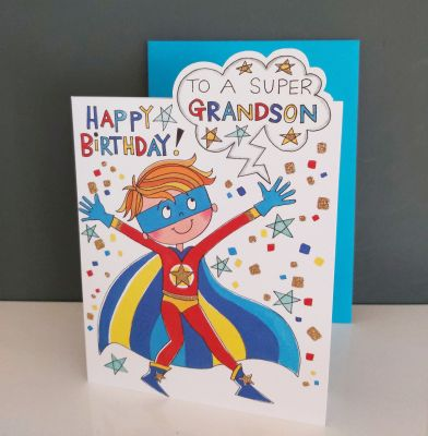 Birthday Card - Grandson Super Hero - Glitter Die-cut - Cherry on Top