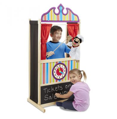 Melissa & Doug Deluxe Wooden Puppet Time Theatre