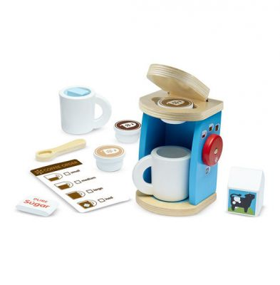 Melissa & Doug Wooden Brew & Serve Coffee 11 Piece Pretend Play Set