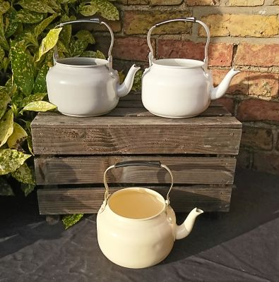 Vintage Style Aluminium Tea Pot Garden Planter Pot Decoration - 3 Colours