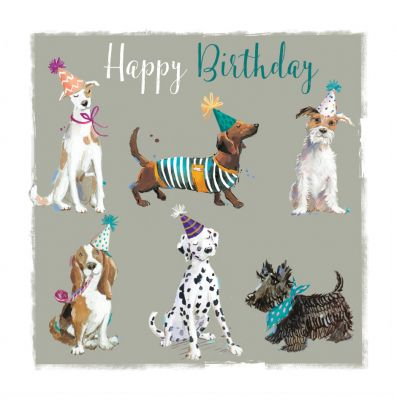 Birthday Card - Dogs Terrier Scottie Basset - The Wildlife Ling Design