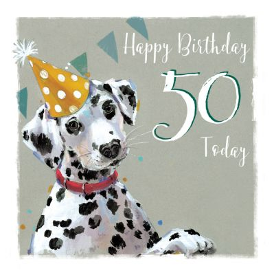50th Birthday Card - Dalmatian Dog - The Wildlife Ling Design