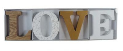 LOVE Wooden Letters - White & Gold
