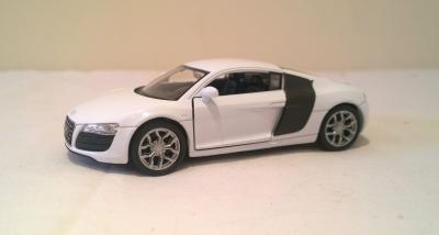 Audi R8 V10 White Die Cast Scale 1:38 Model Car