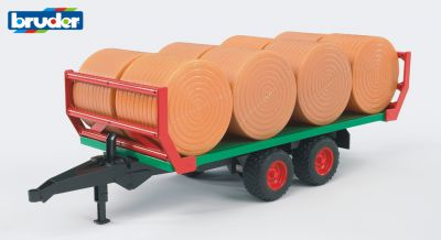 Farm Bale Trailer with 8 Round Bales - Bruder 02220 Scale 1:16