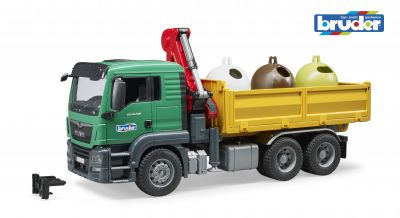 MAN TGS Truck & 3 Glass Recycling Containers - Bruder 03753 Scale 1:16