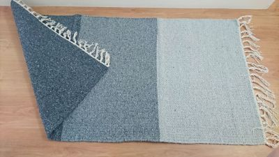 Tripata 3 Grey Panel Handloomed Natural Recycled Yarn Rug - 75cm x 135cm