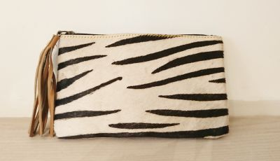 Zebra Animal Print 100% Real Leather Large Purse - Carpe Diem