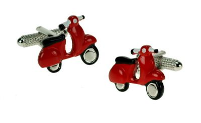 Vespa Moped Red Cufflinks