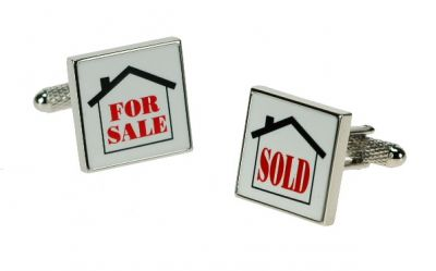 Estate Agent For Sale Sold House Cufflinks