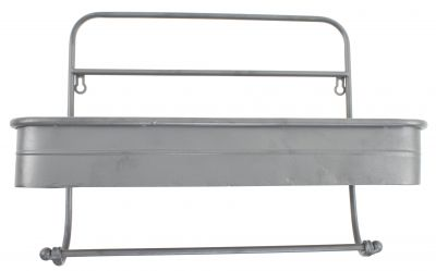 Bathroom Kitchen Wall Shelf Tidy & Towel Rail - Grey Metal