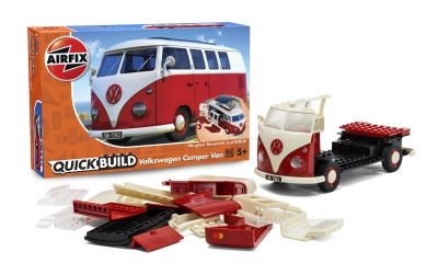 VW Camper Van - Red - Model Kit - 42 Pieces - Airfix Quickbuild - J6017