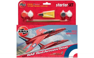 RAF Red Arrows Gnat Aeroplane - Scale 1:72 Model Kit Small Starter Set - Airfix - A55105