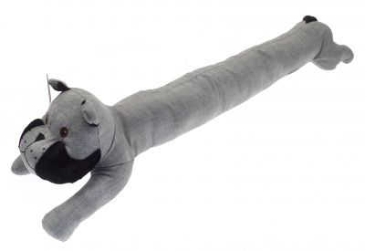 Bulldog Dog Draught Excluder Linen Grey Black