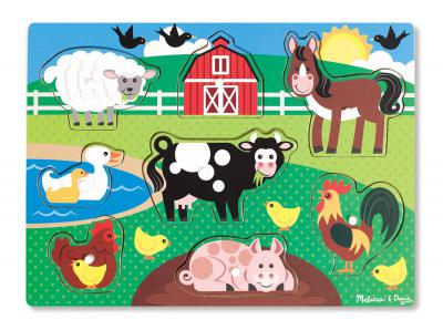 Melissa & Doug - Farm Animals Wooden Peg Puzzle