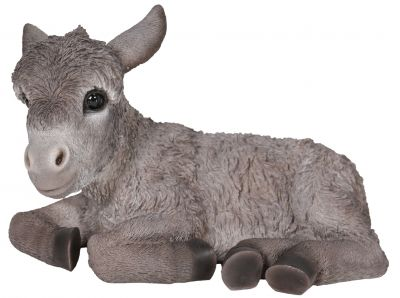 Donkey Baby - Grey Laying Lifelike Garden Ornament Size 2 - Indoor or Outdoor - Real Life Farm