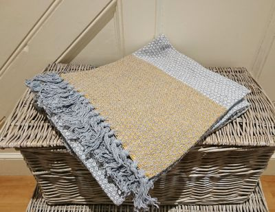 Grey with Gold Panels Eco Throw 100% Cotton