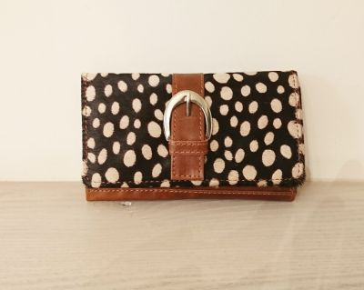 Black White Animal Print 100% Real Leather Purse - Carpe Diem