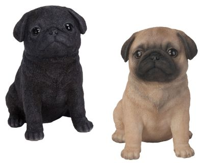 Pug Puppy Dog - Lifelike Ornament Gift - Indoor or Outdoor - Pet Pals - 2 Colours Black Fawn