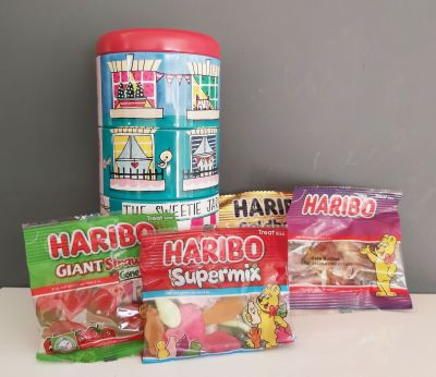Sweet Shop Storage Stacking Tins with Haribo Sweets Gift