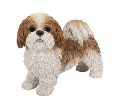 Shih Tzu Dog - Brown Standing Lifelike Garden Ornament - Indoor or Outdoor - Real Life