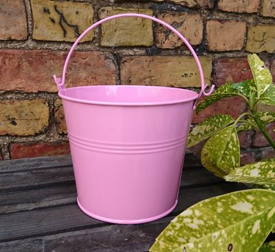 Pink Galvanised Bucket - Plant Pot Planter