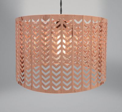 Lampshade - Rose Gold Copper Metal - Chevron