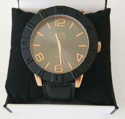 ETON Mens Watch Jumbo Leather Strap Black & Rose Gold - 3246J