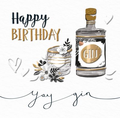 Birthday Card - Black & Gold Gin Drink Talking Pictures
