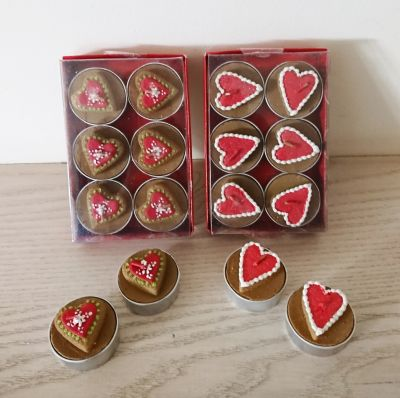 Red Design Tea Light Candles Pack of 6