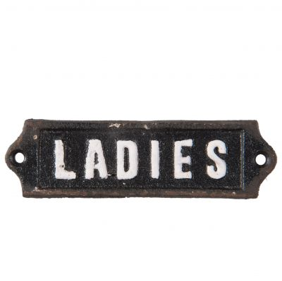 Ladies Iron Toilet Door Sign - Vintage Style