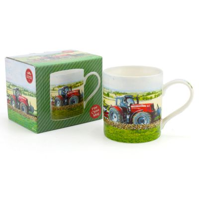 Tractor Red Motive Fine China Mugs - Set of 6