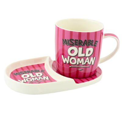 Miserable Old Women Mug & Plate Snack Tea Set