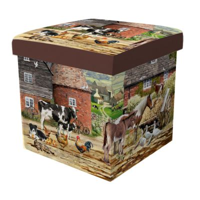 Farm Horse Cow Collie Dog Folding Storage Box or Seat