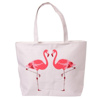 Flamingo Motive Cotton Bag - Lined with Zip