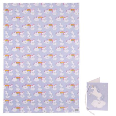 Unicorn Rainbow Gift Wrapping Paper Sheet & Tag