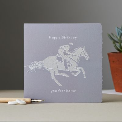 Happy Birthday Card - Horse - You fast Horse