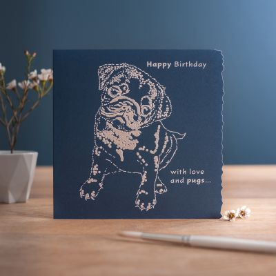 Happy Birthday Card - With Love & pugs - Pug Dog