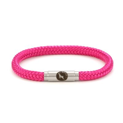 Hot Pink Rope Bracelet Steel Clasp - Boing