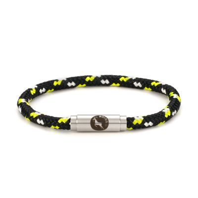 Firefly Black Yellow Rope Bracelet Steel Clasp - Boing