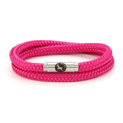 Hot Pink Double Rope Bracelet Steel Clasp - Boing
