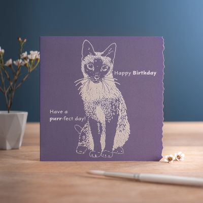 Happy Birthday Card - Purr-fect Day - Cat